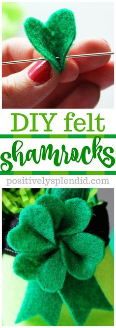 Patrick's Day shamrocks Tutorial: Felt St. Patrick's Day shamrocksTutorial: Felt St. Patrick's Day shamrocks St Patrick's Day Crafts, Decor Crafts, Holiday Crafts, Diy Crafts, Diy St Patricks Day Decor, St. Patricks Day, St Patricks Day Hair Bows, Sewing Crafts, Sewing Projects