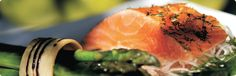 Salmon fillet cooked to perfection with a side of grilled asparagus. Nom! | addo restuarant