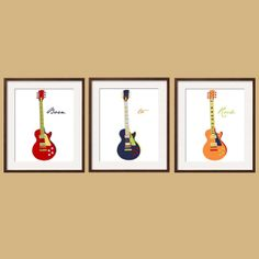 Guitar Prints Nursery -Toddler Wall Art in navy red orange yellow blue 3 pc 11x14 Madras colors by YassisPlace.