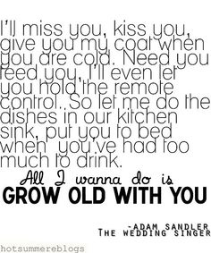 I'll miss you, kiss you, give you my coat when you are cold. Need you, feed you, I'll even let you hold the remote control. So let me do the dishes in our kitchen sink, put you to bed when you've had too much to drink. All I wanna do is grow old with you. - Adam Sandler, The Wedding Singer