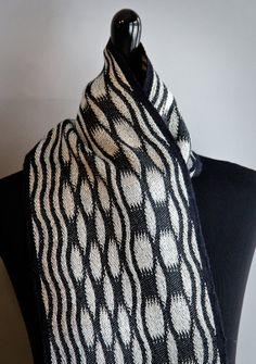 Handwoven Scarf, Silk and Merino Wool, Black and White