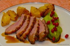 """Grilled Duck with Roasted Potatoes and Purée of Leek, garnished with pomegranate seeds - """"Mouth-watering Modena: a cooking class in Italy"""" by @Tricia Mitchell"""