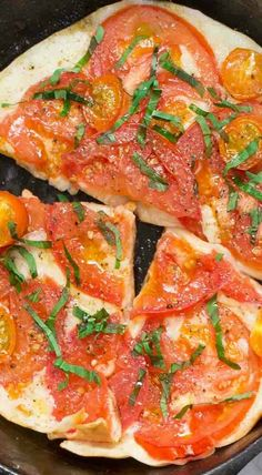 Mozzarella and Tomato Skillet Pita Pizzas