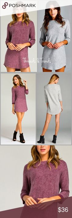 Raglan French Terry Tunic Wine Loose fit, three-quarter length sleeves, round neck raglan dress. Rounded hems. Sleeves are cuffed and tacked. This dress is made with heavy weight brushed french terry fabric that has a very soft fuzzy texture, drapes well, and is very warm. This fabric has good stretch.Fabric 29% Polyester, 68% Rayon, 3% Spandex Threads & Trends Dresses