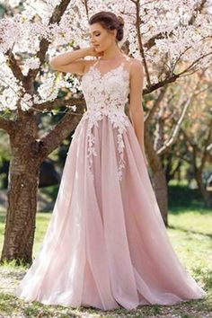 Beautiful lace top pink tulle prom dress with straps