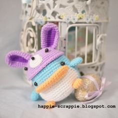 Penny The Penguin with removable Bunny Hat || Free Pattern. God I wish I could knit and crochet!