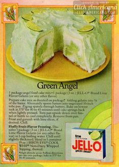 Green Angel Lime Cake recipe 1978 Vintage Recipe - Green Angel lime jello-cake - Angel food cake with lime jello powder swirled in the batter . simple and delicious Old Recipes, Vintage Recipes, Cake Recipes, Dessert Recipes, Cooking Recipes, Lime Jello Recipes, Picnic Recipes, Cooking Tips, Breakfast Recipes