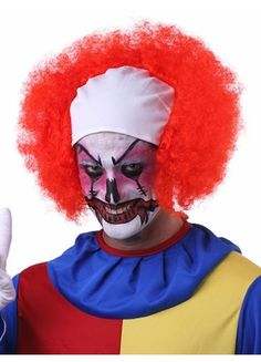 Curly Style Red Bald Clown Men's Wig For Cosplay