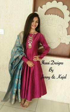 Silk anarkali with banarasi duppta Indian Attire, Indian Ethnic Wear, Ethnic Dress, Ethnic Fashion, Indian Fashion, High Fashion, Indian Dresses, Indian Outfits, Churidar Designs