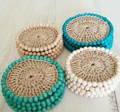 Crochet Coaster Set Pattern Cacti Pattern from a book - has several patterns - how to grow a garden Make A Crochet Garden - 9 Stylish Projects for Succulents, Cacti & Flowers Leisurearts. No watering needed with these nine wonderful crochet succulents, ca Crochet Diy, Mode Crochet, Crochet Home, Crochet Gifts, Crochet Doilies, The Coasters, Yarn Crafts, Diy And Crafts, Crochet Coaster Pattern