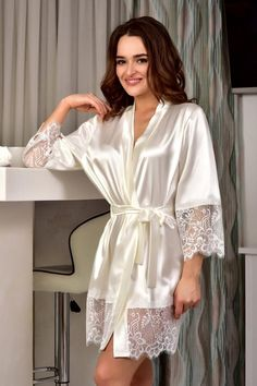 Ivory bridal kimono robe Wedding satin lace robe Bride dressing gown Short robes for women Gift for daughter bridal shower from mom - Women Robes - Ideas of Women Robes - Lingerie Outfits, Lingerie Dress, Satin Lingerie, Lingerie Set, Bride Dressing Gown, Satin Dressing Gown, Lace Bridal Robe, Bridal Party Robes, Party Gowns