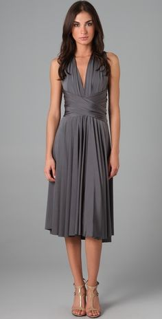 Tea Length Convertible Dress by Twobirds. the convertible straps allow each bridesmaid to find the right look.