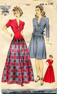 1940s Dress Pattern Vintage Hollywood 1251 by FloradoraPresents, $30.00