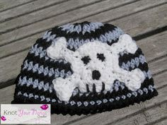 Newborn Beanie With Skull Applique http://www.knotyournanascrochet.com/2013/02/punk-baby-hat-with-skull-applique.html  for my little man :)