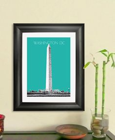 Washington Monument Skyline Poster - Washington DC City Skyline - Art Print - 8 x 10 Choose Your Color. $20.00, via Etsy.
