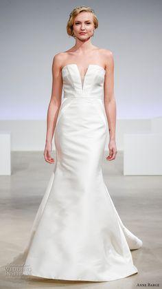 anne barge fall 2017 bridal slrapless deep plunging neckline simple clean elegant sophiscated mermaid wedding dress chapel train (zelda) mv