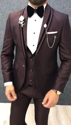 Acacia Claret Red Slim Fit Tuxedo is part of Tuxedo - Size 464850525456 Suit material viscose, polyesterwashable No Fitting Slimfit Remarks Dry Cleaner Season 2019 Spring Wedding Season Wedding Dresses Men Indian, Wedding Dress Men, Wedding Men, Man Suit Wedding, Mens Wedding Wear Indian, Best Man Wedding, Mens Casual Suits, Mens Fashion Suits, Fashion For Man
