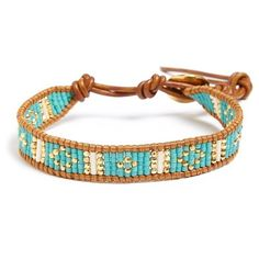 Chan Luu Beaded Leather Bracelet (415 ILS) ❤ liked on Polyvore featuring jewelry, bracelets, 14k bangle, leather bracelet, genuine leather bracelet, bead bracelet and leather jewelry