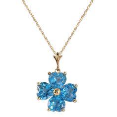 Blue Topaz 14K Yellow Gold Ladies Necklace