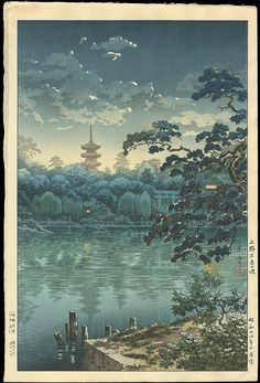 Koitsu, Tsuchiya (1870-1949) - Ueno Shinobazu Pond - 上野不忍の池,  Found on ohmigallery.com, via Ann Leadley