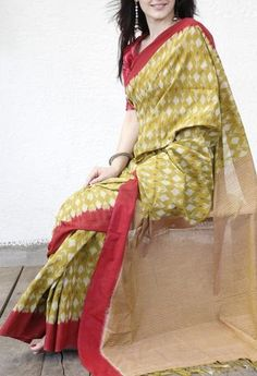 MUSTARD AND RED COTTON SAREE