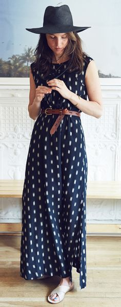 Ikat maxi blue dress + black hat. Boho women fashion outfit clothing style apparel @roressclothes closet ideas