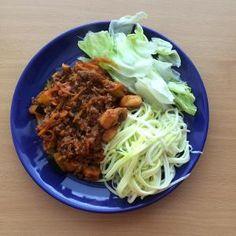 srpna 2014 Boloňská směs s cuketovými špagetami No Cook Meals, Paleo, Beef, Cooking, Food, Meat, Cucina, Kochen, Essen
