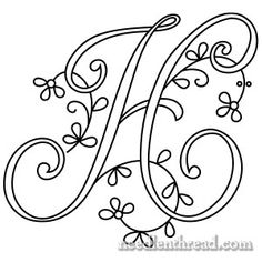 Monogram for Hand Embroidery: H //The best sight for all sorts of free embroidery patterns and embroidery stitch lessons! Embroidery Alphabet, Embroidery Monogram, Hand Embroidery Designs, Embroidery Applique, Cross Stitch Embroidery, Cross Stitch Patterns, Embroidery Sampler, Embroidery Ideas, Embroidery Thread