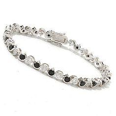 Gem Treasures Sterling Silver 5.40ctw Black Spinel & White Zircon Bracelet  #121409