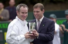 109-Tennis Star John Mcenroe Receiving Trophy From Prince Andrew, Duke Of York At A Charity Tennis Tournament On Behalf Of The Nspcc