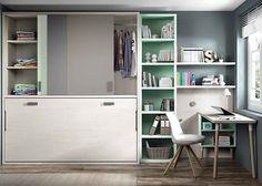 Habitación juvenil con cama abatible horizontal con armario superior . Elmenut