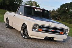 This gorgeous '68 Chevy C10 truck, by Tom Argue Design, is powered by a 525HP LS3 and rides on a complete Speedtech custom chassis, Speedtech's ExtReme suspension, Viking coilovers, Wilwood disc brakes, Michelin Pilot Super Sport tires (295/30ZR20 & 335/30ZR20), and 20x10 & 20x12 Forgeline MS3C wheels finished with custom gray centers & Polished outers! See more at: http://www.forgeline.com/customer_gallery_view.php?cvk=1504 #Forgeline #MS3C #notjustanotherprettywheel #madeinUSA #Chevrolet ....
