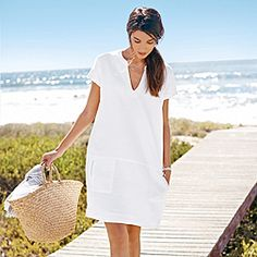 Herringbone Linen Dress - White