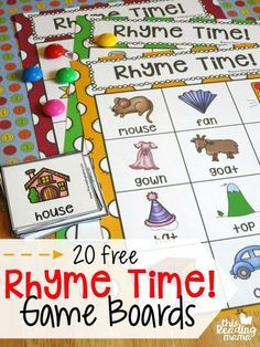 Fun rhyming activity for preschool or early FREE Rhyme Time Game Boards. Fun rhyming activity for preschool or early kindergarten! Reading Intervention, Reading Skills, Teaching Reading, Reading Centers, Reading Lessons, Free Reading Games, Reading Time, Teaching Art, Math Lessons