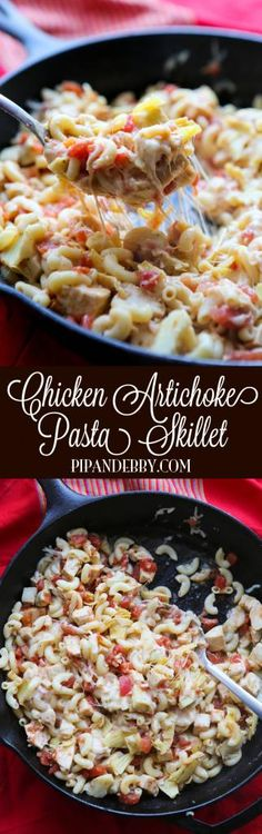 Chicken Artichoke Pasta Skillet - only FIVE ingredients and THIRTY minutes and this delicious skillet is on your dinner table!