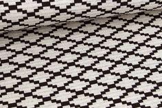 Jacquard - Muster - Pixelraute - Natur/Schwarz auf alles-fuer-selbermacher.de