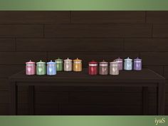 Three colorful jars with hearts. Part of Bon Appetit set. Found in TSR Category 'Sims 4 Clutter' Sims 4 Kitchen, Sims 4 Clutter, Sims 4 Custom Content, Electronic Art, Mason Jar Lamp, Objects, Table Lamp, Ts4 Cc, Bon Appetit