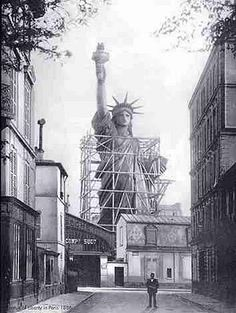The Statue of Liberty under construction, rue de Chazelles, in Paris, 1885, before being transported to New York.