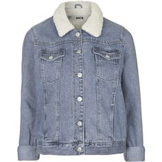 TOPSHOP MOTO Vintage Borg Western Jacket ($88) ❤ liked on Polyvore featuring outerwear, jackets, mid stone, blue jackets, topshop, western jacket, collar jacket and cowboy jacket