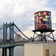 Stained Glass Water Tower by Tom Fruin
