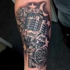 Vintage box mic and roses @wholeaddiction @fishinktattoos #tattoo #blackandgrey #rose #roses #mic #microphone #stars #moon #neotat