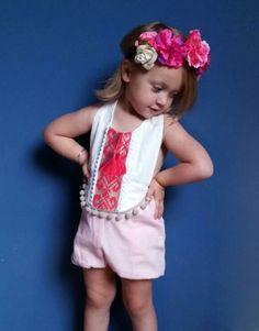 Pink/ Fuchsia Baby Girl Romper/ Linen Boho Chic by VivaBohoKids