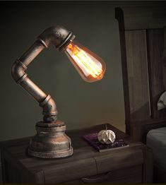 Pipe Vintage Table Lamp Industrial Loft Retro Novelty Desk Lamp/Study Room Light/NightBar Light/Metal