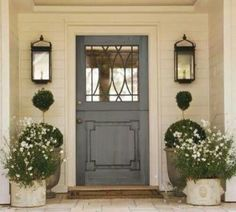 90 Awesome Front Door Farmhouse Entrance Decor Ideas And Remodel Entrance Decor, Front Door Colors, Front Porch Decorating, Door Planter, Front Door, Beautiful Front Doors, Doors, Exterior Doors, House Exterior