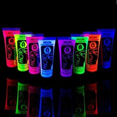 Uv Glow Blacklight Face and Body Paint 0.34oz - Set of 8 Tubes - Neon Fluores...