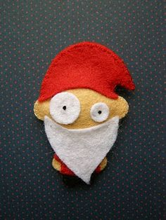 This is actually what ALL our Santa ornaments look like.  Well, actually, one eye has to be gone.