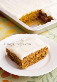 Pam shares my love for baking, and she recently gave me this wonderful recipe for a pumpkin cake. It's a large sheet-cake style cake, so it's really easy to make and perfect for group get-togethers...