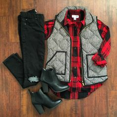 Herringbone vest with buffalo plaid and destroyed denim