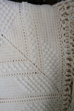 Antique Crochet Bedcover Coverlet Square, Star, Chevron Design  GREAT!