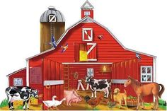 Illustration Of A Big Red Barn Along With Farm Animals - Melissa & Doug Farm Friends 32 pc Floor Puzzle by Melissa & Doug. $35.67. Melissa & Doug Farm Friends 32 pc Floor Puzzle437 Type: Farm Friends Puzzle (32 pcs) Features: -24 piece, 48 piece and 100 piece Puzzles, as well as floor puzzles.-Easy to clean surface.-Large puzzle size for small hands.-Ages 3 and up. Construction: -Heavy-duty cardboard construction for durability.Welcome to the big red barn! Meet all...